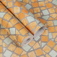 PVC waterproof plaid wallpaper Mosaic bathroom livingroom hotel kitchen bathroom yellow Brick pattern self adhesive wallsticker