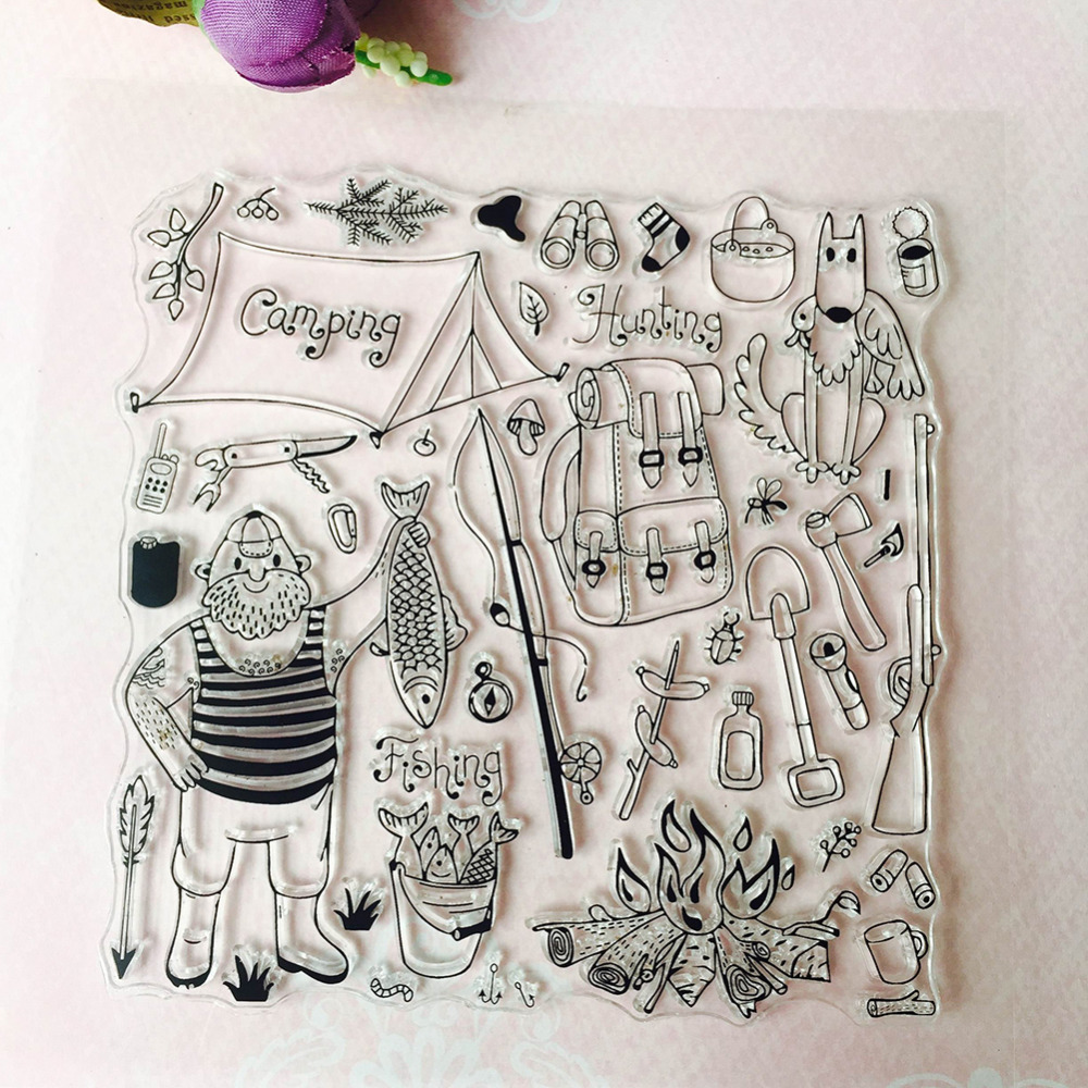 Transparent Clear Silicone Stamps for DIY Scrapbooking/Card Making/Kids Camping Tool Set Fun Decoration Supplies