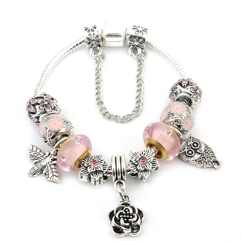 BAOPON New Silver Color Lovely Owl & Cicada Pendant <font><b>Pan</b></font> <font><b>Bracelet</b></font> Pink Flower Beads Charms <font><b>Bracelets</b></font> For Women DIY Jewelry image