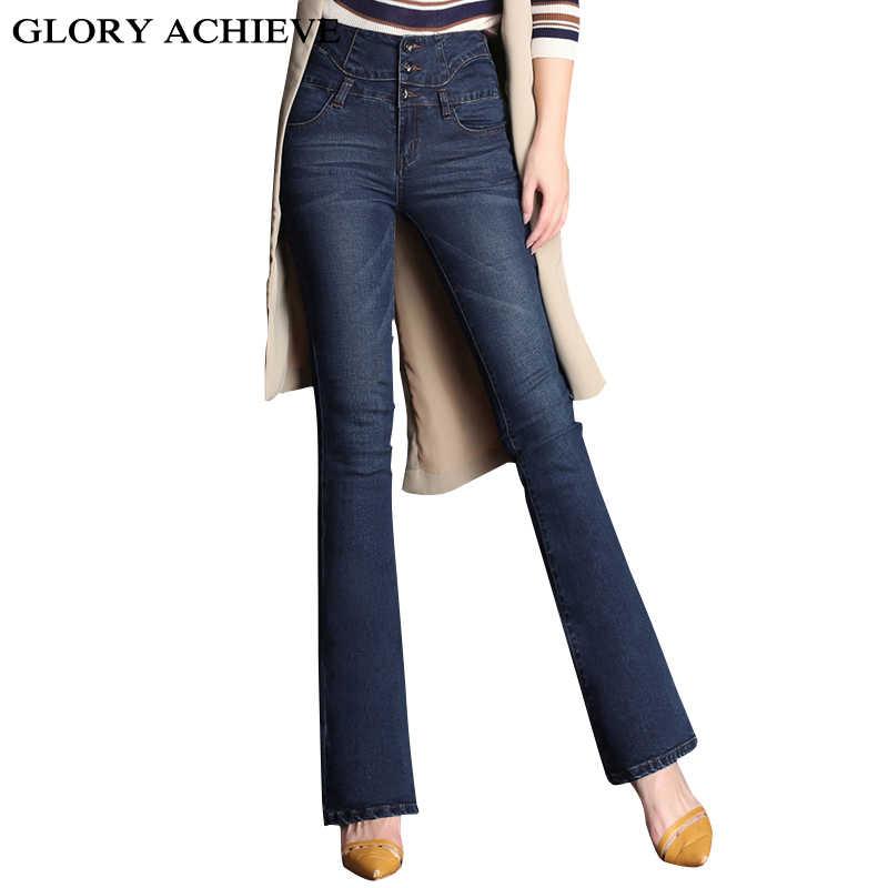 c9204949a1 Otoño Invierno alta cintura Flare Jeans pantalones Plus Size Stretch Skinny  Jeans mujeres pierna ancha Delgado