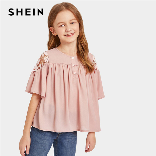 60444fcd93 SHEIN Kiddie Pink Solid Buttoned Guipure Lace Pleated Cute Blouse Girls  Tops 2019 Summer Flounce Sleeve