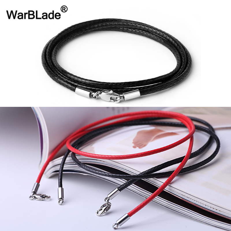 1.5mm 2mm 3mm Black Necklace Cord Leather Cord Wax Rope Chain 316L Stainless Steel Lobster Clasp Men Women DIY Necklace Jewelry
