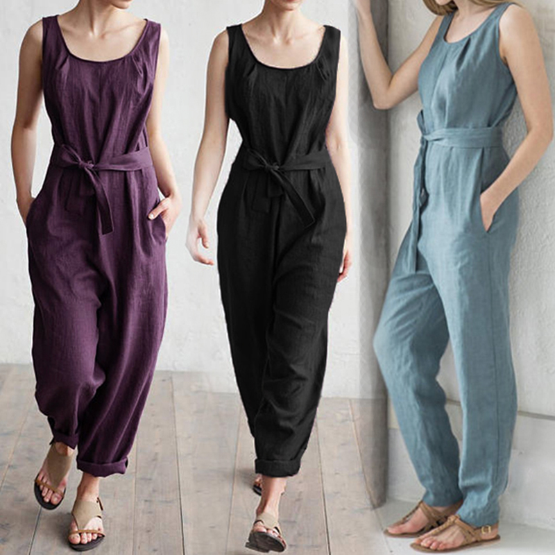 Celmia Plus Size Women   Jumpsuit   2019 Summer Sleeveless Rompers Elegant Self Belted High Waist Cotton Linen Casual Overalls Pants