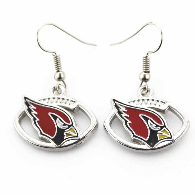 Wholesale 5 pair/lot America Footbal silver earrings Jewelry Team Arizona Cardinals Sports Earring for women earrings Jewelry