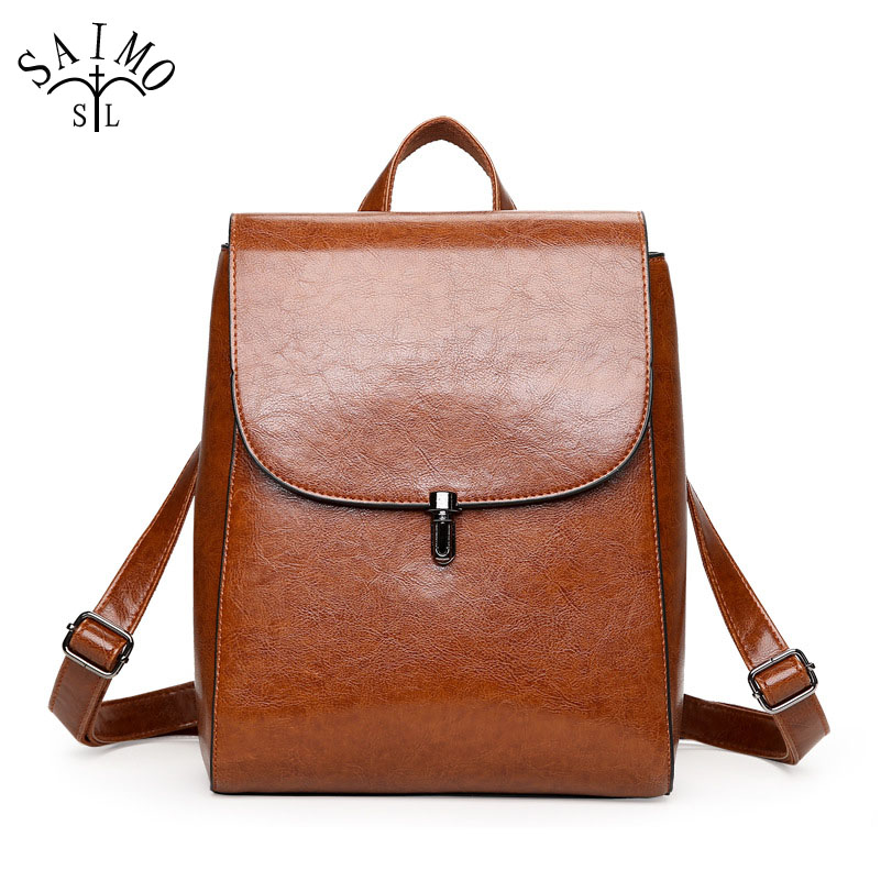 Women Backpack Oil Wax Cow split Leather Shoulder Bags High Quality Teenagers Girls Travel Back pack Vintage Brown College Style