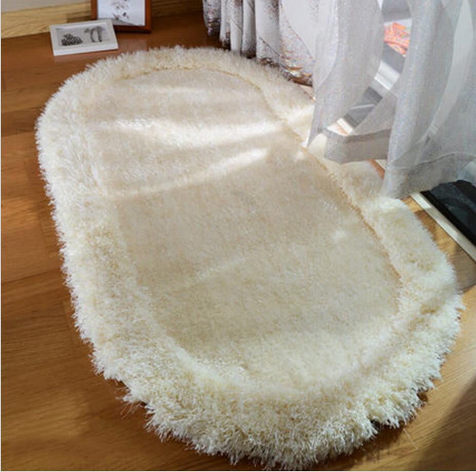 2017 nouveau Design en peluche Shaggy doux tapis chambre zone tapis antidérapant tapis ovale tapis chambre tapis de sol 60 cm x 90 cm Tapetes ovales