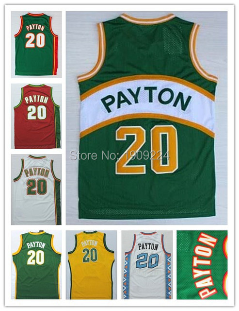 ce34d538 Seattle Super sonic Gary Payton Jersey #20 Green White Red Yellow Retro  Throwback Basketball Jerseys Stitched Embroidery Logos