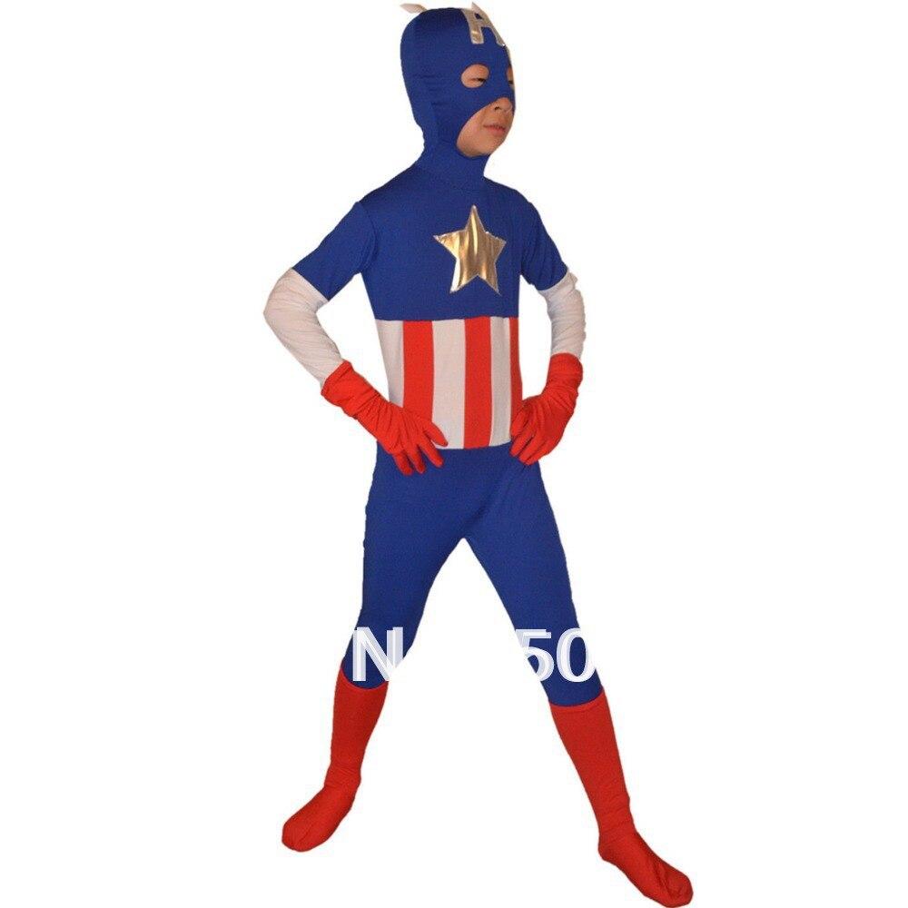 Envío de la alta calidad al por mayor de los niños de Halloween Capitán América lycra traje Zentai traje superhéroe vestido de lujo kc2031