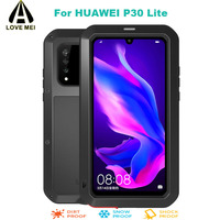 For Huawei P30 Lite Phone Case LOVE MEI Luxury Aluminum Metal Armor Shockproof Case Waterproof POWERFUL Cover Gorilla Glass Film