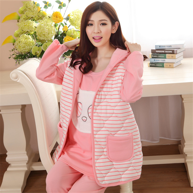 5fa6467dd8 Cotton Maternity Sleepwear For Feeding Nightgown Clothes For Pregnant Women  3 Pcs Soft Breastfeeding Pajamas Winter 605516