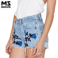 Mooishe Summer Bohemia Women High Waist Jeans Short 3D Floral Embroidered Tassel Light Wineb Denim Shorts