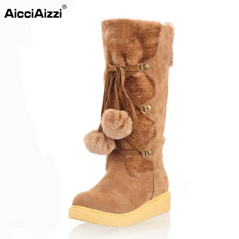 New Fashion 2016 Warm Snow Boots Women Flats Heel High Boots Botas Femininas Lace Up Winter Girls Shoes Boots Size 34-43
