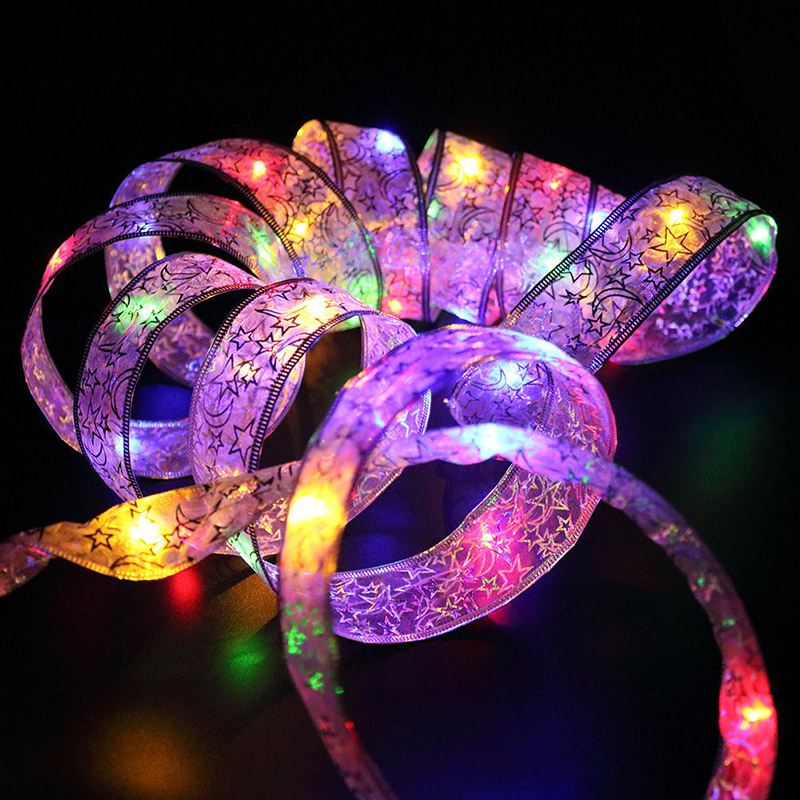 Night Light 4M 40Heads Ribbon Led String Pitsid Christmas Tree Party - Puhkusevalgustus - Foto 3
