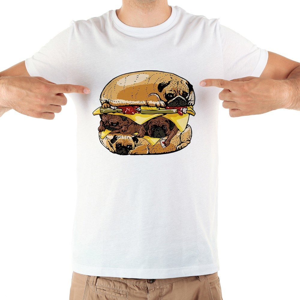 00df86a6 Hot Sale Pugs Burger funny tshirt men 2018 summer new white short