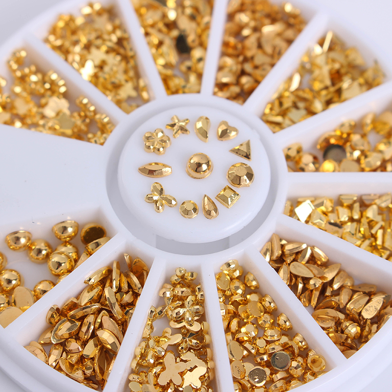 12 Patterns/Box Gold Plated Metal Studs 3D Nail Decoration In Wheel Manicure Nail Art Decoration диски helo he844 chrome plated r20