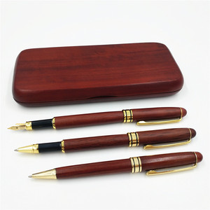 Image 2 - Stationery Three Pcs Roller Ball Pen Fountain Pen BallPoint Pen Wooden Pencil Case With Pencil Box