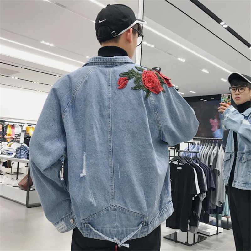 b8f9bef5d9f ... Spring Denim Jacket Women 2019 Female Jeans Jacket Fall Rose embroidery  holes vintage denim jacket men ...