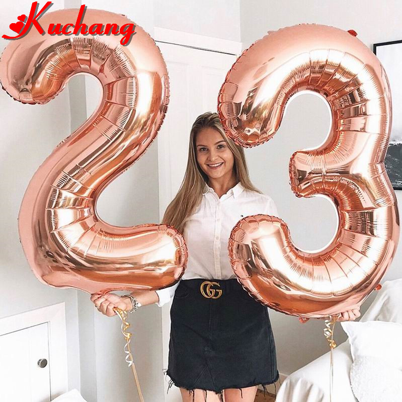 Balões laminados de hélio em ouro rosé, 2 peças, 16/30/40 polegadas, números, 16, 18, 20, 25, 30, 40, 50 anos velho adulto festa de aniversário decoração suprimentos