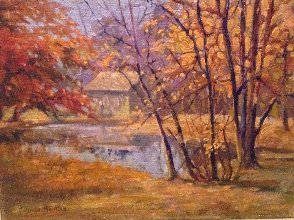 Top artiste artisanat moderne doré plante arbre mur œuvre huile photos à la main belle automne andscape peintures sur toile