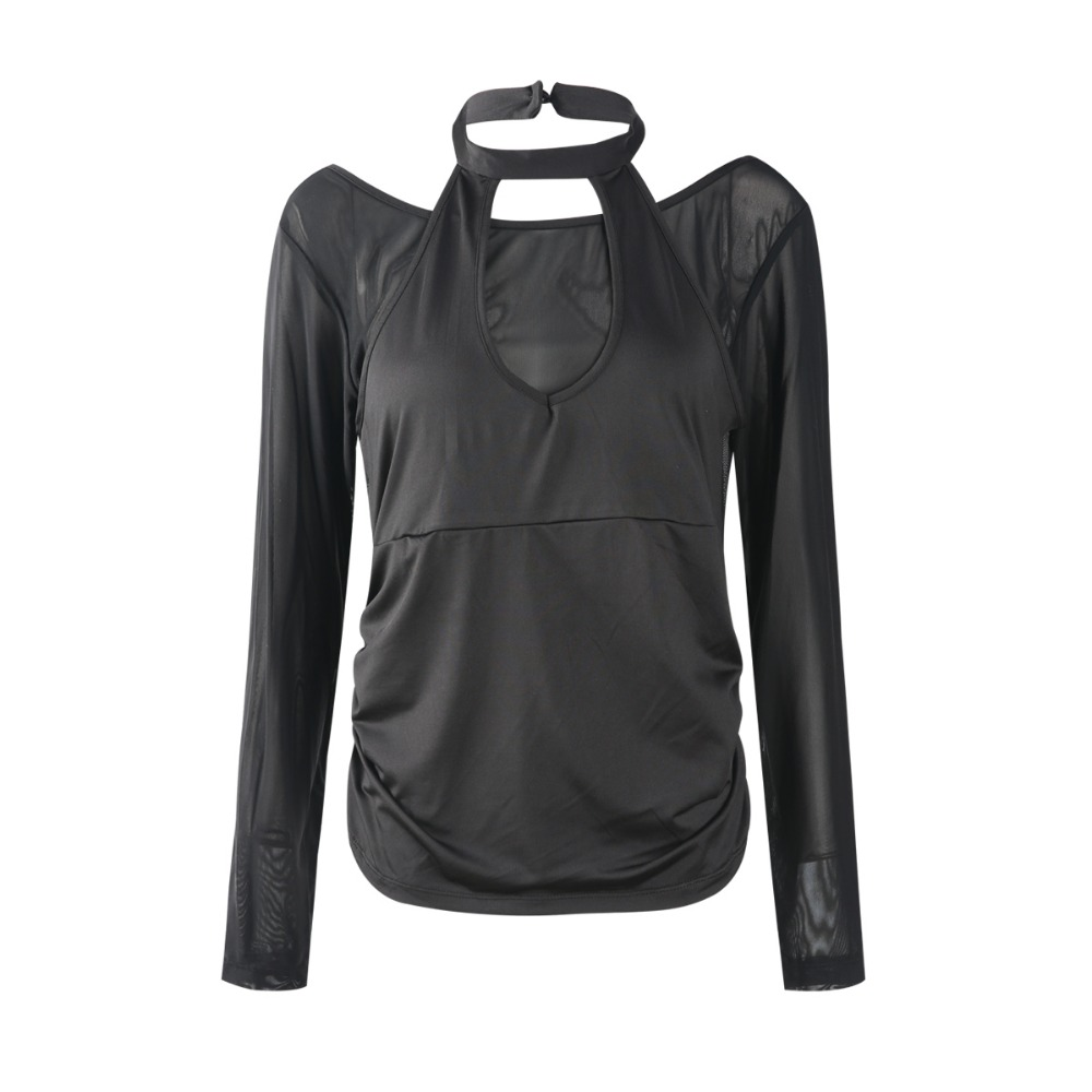 kissmilk 2018 Plus Size Sexy Patchwork Halter Women T shirts Semi Sheer Mesh Female Clothing Big Size Lady Solid Tops 3XL 7XL in T Shirts from Women 39 s Clothing