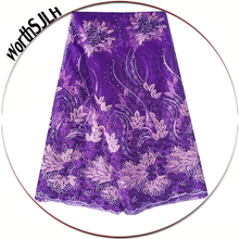 Purple Swiss Nigeria Laces Material Fushia Pink African 3D Lace Fabric 5 Yards Tulle French With Beads And Stones