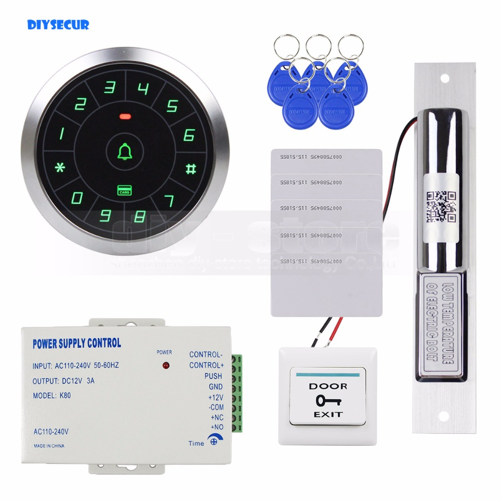 DIYSECUR Access Control System 8000 Users 125KHz RFID Reader Password Keypad + Electric Drop Bolt Lock Door Lock Security Kit raykube glass door access control kit electric bolt lock touch metal rfid reader access control keypad frameless glass door