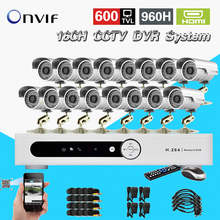16CH 960H H.264 CCTV standalone DVR recorder16ch 600TVL Color CMOS IR waterproof outdoor bullet cameras CK-040