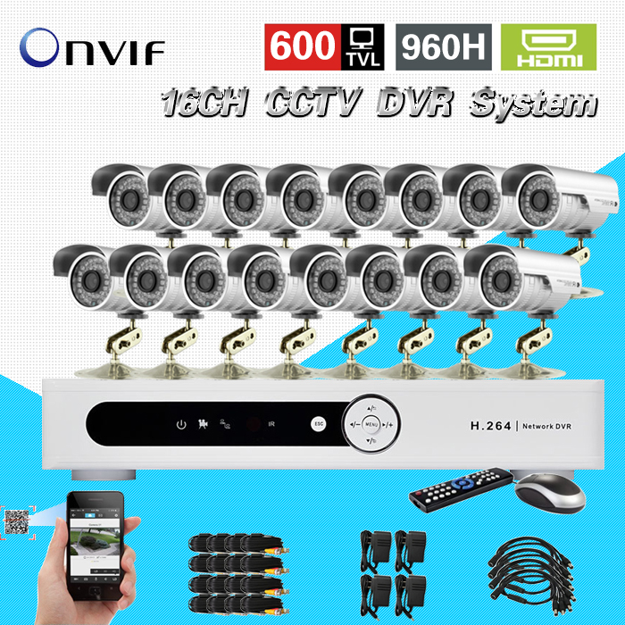 TEATE 16CH 960H H.264 CCTV standalone DVR recorder16ch 600TVL Color CMOS IR waterproof outdoor bullet cameras CK-040 8ch ahd 960h d1 recording cctv standalone hybrid dvr recorder 8ch 700tvl color cmos ir weatherproof indoor dome cameras
