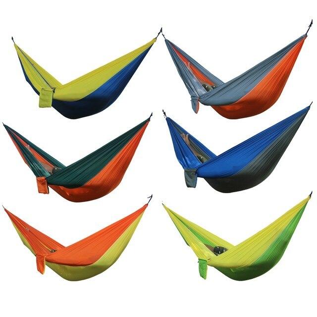 Przenośny hamak podwójne osoby obóz przetrwania huśtawka ogrodowa polowanie wiszące spania krzesło podróży meble spadochron hamaki