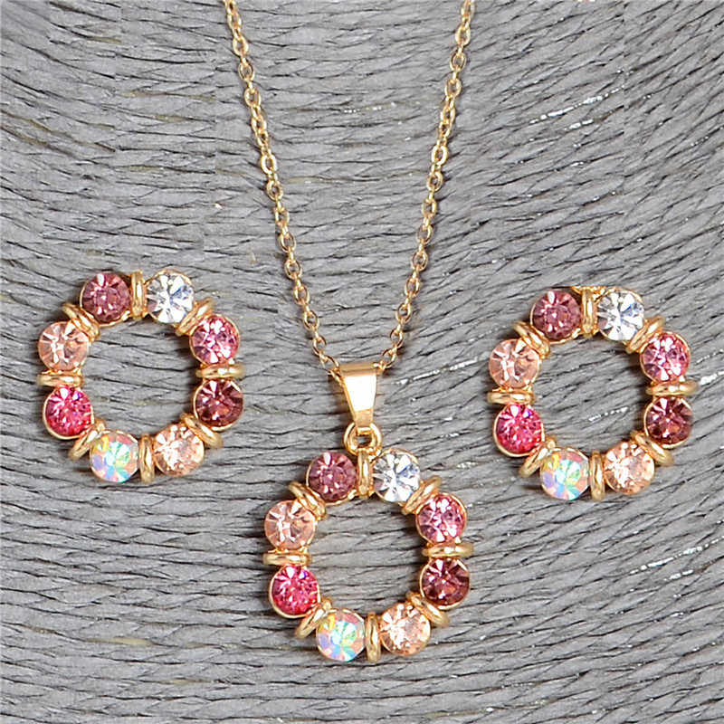 QCOOLJLY Newest 1Set Multi-colored Round Circle Shape Design Welcome Fine Jewelry Pendant Necklace Earrings Jewelry Set