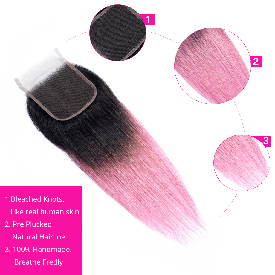 BY Pre colored Non Remy Human Hair Weave Bundles With Closure Free Part Pink Hair Brazilian