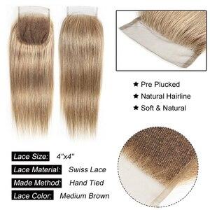Image 2 - モーグル髪の色 8 灰ブロンドストレートバンドル閉鎖 16 24 インチ事前色ブラジル非レミーヘアエクステ