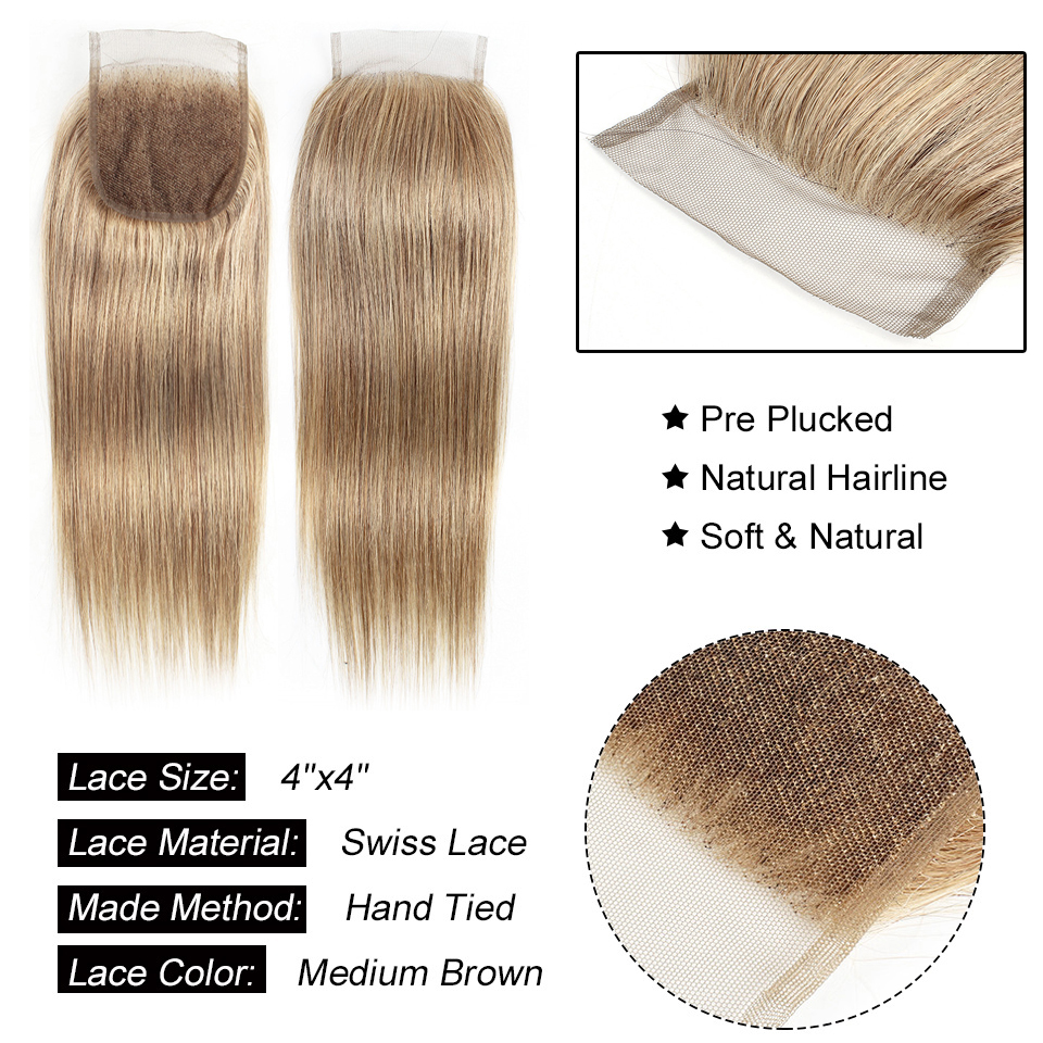 Image 3 - MOGUL HAIR Color 8 Ash Blonde Straight Bundles With Closure 16 24 inch Pre Colored Brazilian Non Remy Human Hair Extension-in 3/4 Bundles with Closure from Hair Extensions & Wigs