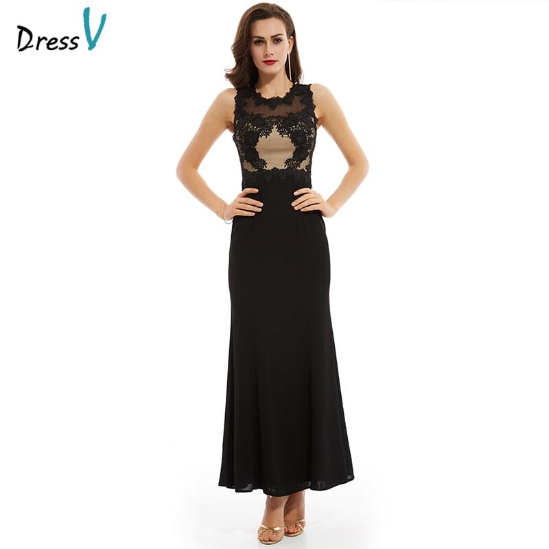 Dressv Black Tulle Long Evening Dress Elegant Simple Cheap Wedding