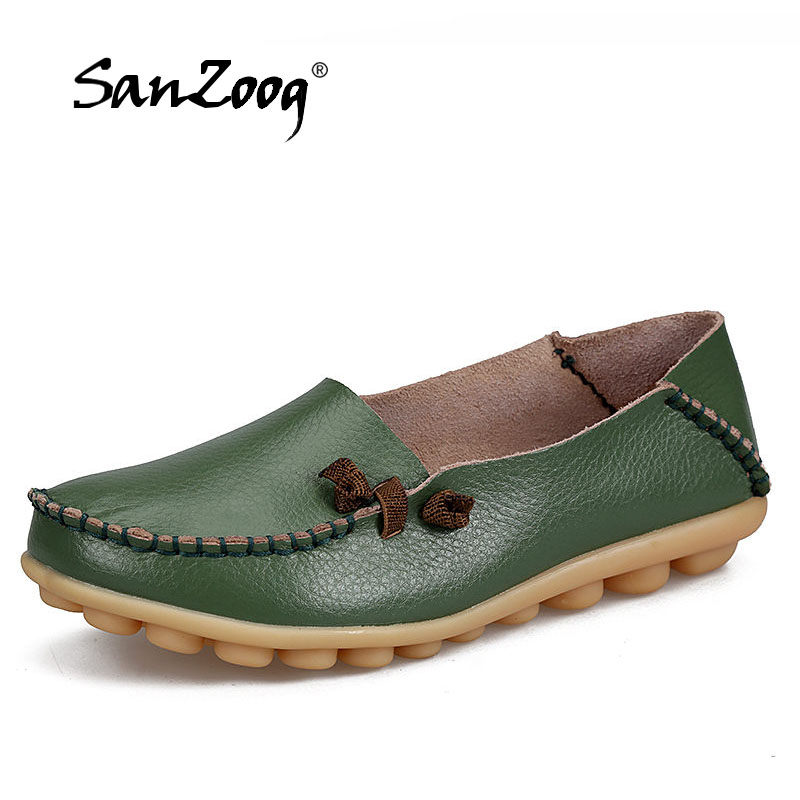 цена на SANZOOG Women Real Leather Shoes Moccasins Mother Loafers Soft Leisure Flats Casual Female Driving Ballet Platform Women's Shoes