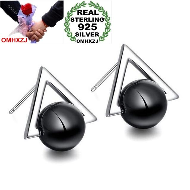 OMHXZJ Wholesale Triangle Fashion joker OL Style For Woman Girl Wedding Gift Black Agate 925 Sterling Silver Stud Earrings YS309-in Earrings from Jewelry & Accessories on Aliexpress.com | Alibaba Group