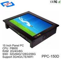Низкая стоимость 15 дюймов стойку ЖК дисплей монитор Мини безвентиляторный промышленный Tablet PC 1024x768 Разрешение 2xRJ45 LAN VGA HDM USB COM RS485
