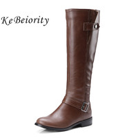 KEBEIORITY Women Boots 2017 Autumn Low Heel Knee High Leather Boots Female Black Brown Grey Military