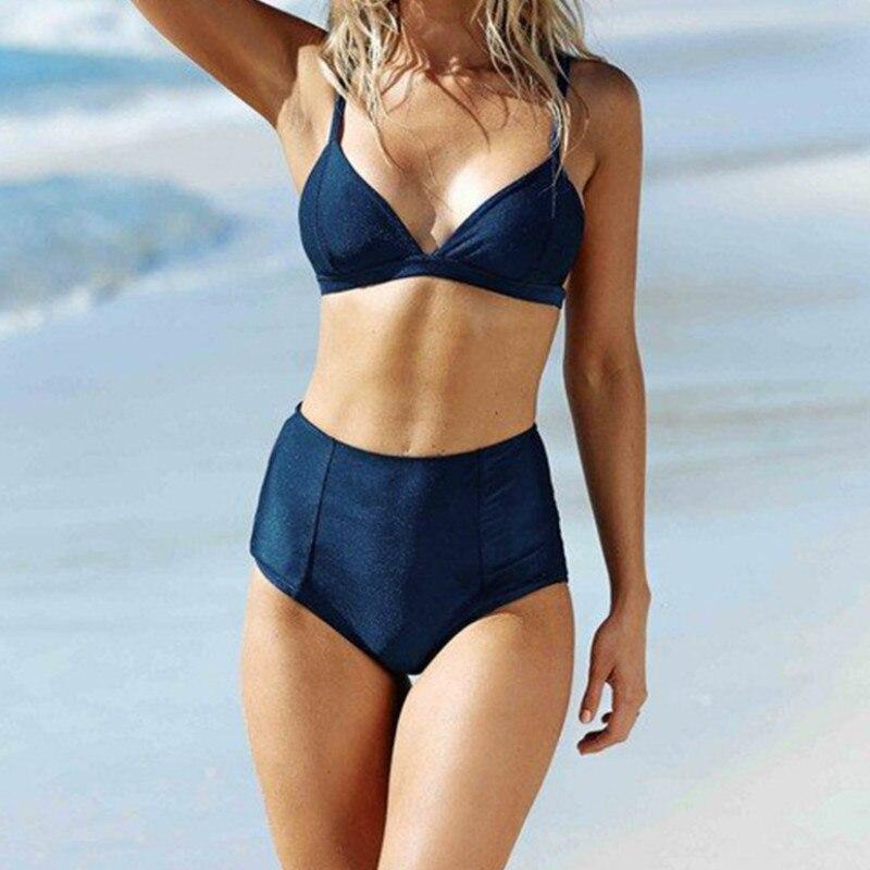 2018 New High Waist Solid Color Bikini Set Swimsuit Bathing Suit Swimwear Beachwear2018 New High Waist Solid Color Bikini Set Swimsuit Bathing Suit Swimwear Beachwear