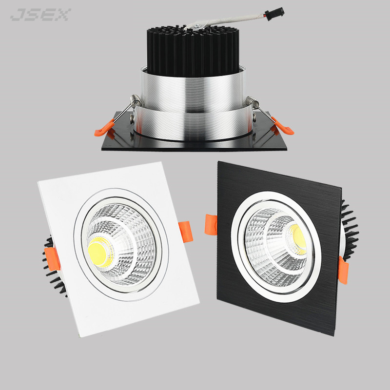 Recessed Square Dimmable LED Downlights 7W9W12W COB LED Ceiling Lamp AC85-265V Warm/Cold White LED Spot Lights Indoor Lighting