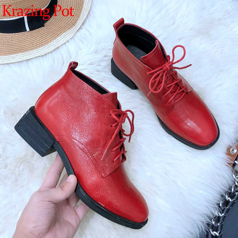 Krazing Pot new arrival sheep leather round toe med heel keep warm lace up British school