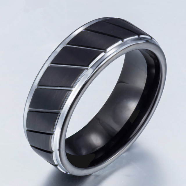Mens Black Tungsten Wedding Bands.Us 18 56 Shardon Men S Black Tungsten Ring With Middle Tyre Pattern Carved Engagement Wedding Bands With Size 7 13 In Engagement Rings From Jewelry