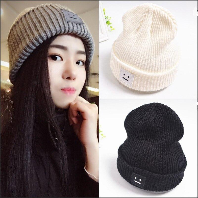Fashion Women Hats Square Face Winter Warm Cap Lovers Cute Wool Hat for Men  Women Knitting Caps Casual Skullies Beanies Gorras-in Skullies   Beanies  from ... b092ffe193b