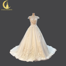 JIALINZEYI Sexy Luxurious Crew Neck Lace Flowers Beads V Back Luxurious Real Pictures Bridal Wedding Dresses Wedding Gown 2018