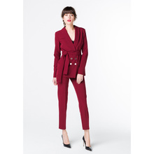 Jacket+Pants Wine Red Womens Business Suits Work Female Office Uniform Trouser Suits Double Breasted 2 Piece Ladies Blazer