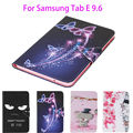 Painted PU Leather Case For Samsung Galaxy Tab E 9.6 T560 T561 SM-T560 Case Cover Tablet Cartoon Flowers Card Slots wallet Shell