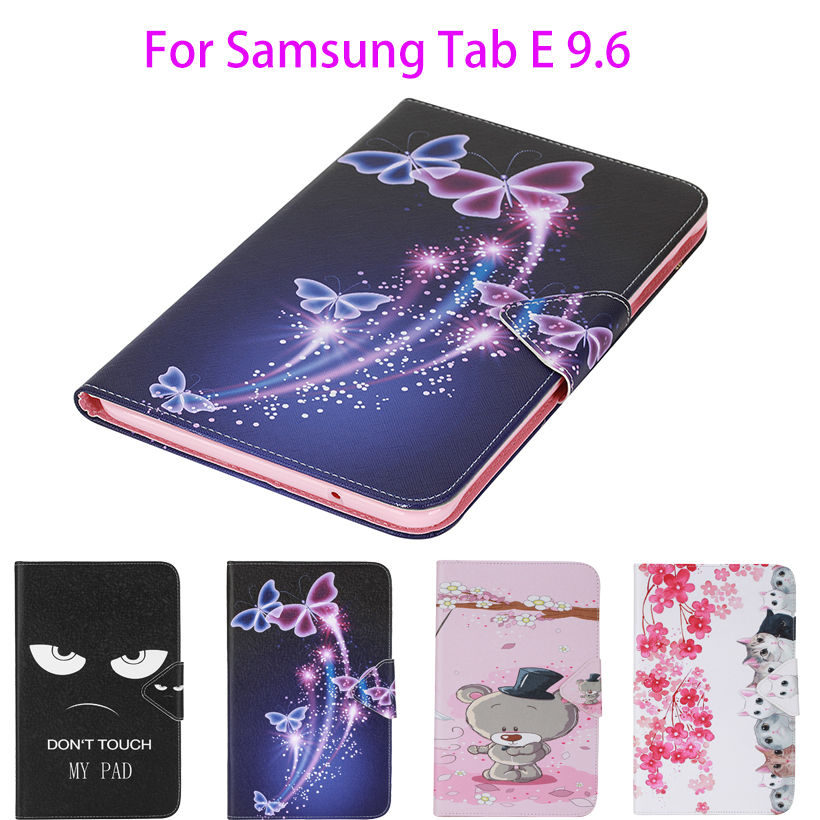 Painted PU Ledertasche Für <font><b>Samsung</b></font> Galaxy Tab E 9,6 <font><b>T560</b></font> T561 SM-<font><b>T560</b></font> Tablet Cartoon Blumen Kartensteckplätze wallet Shell image