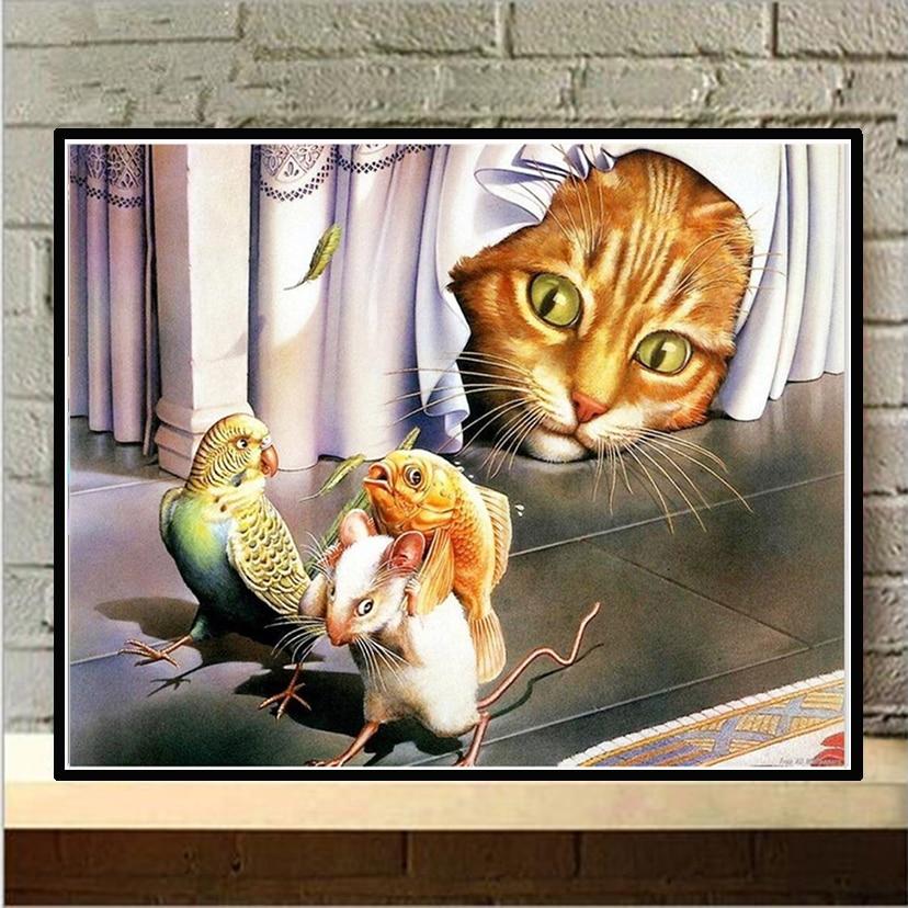 Funny Cat 5D DIY Diamond Painting Full Drill Embroidery Cross Stitch Handicraft