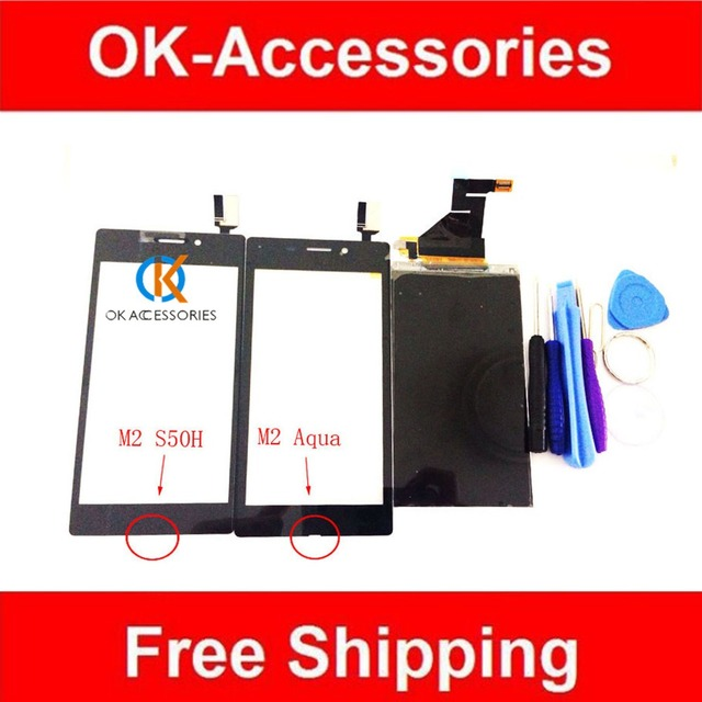 Preto cor branca para sony xperia m2 s50h m2 aqua m2 aqua d2403 display lcd + touch screen digitador assembléia com ferramentas 1 pc/lote