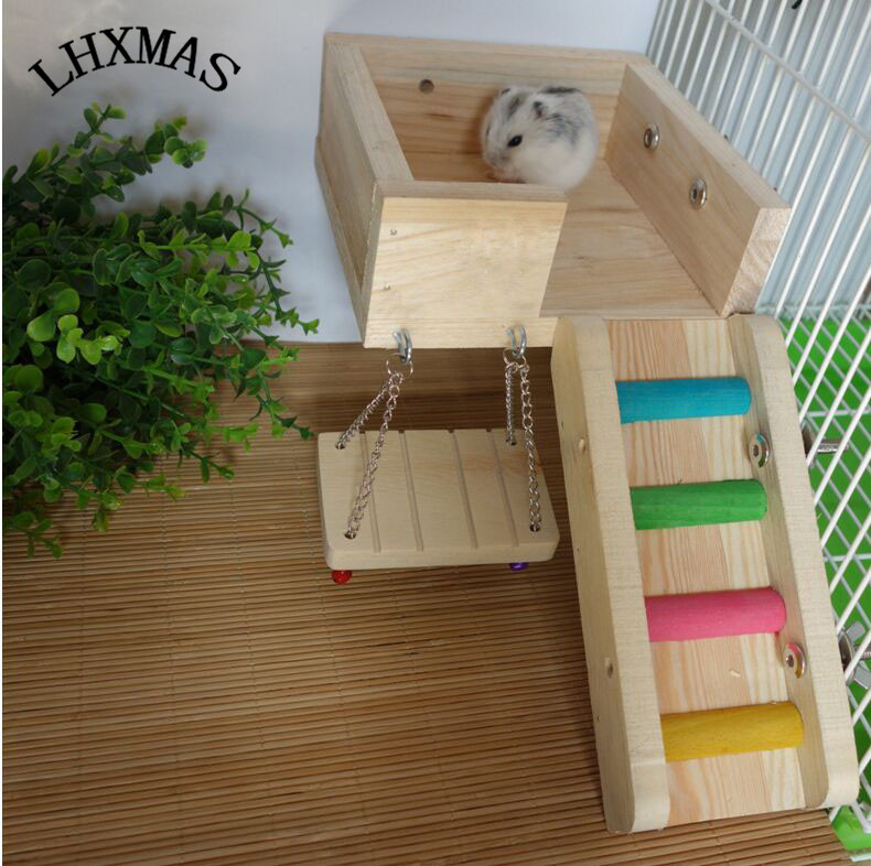 3pcs/set Wooden Pet Rat Hamster Toy Ladder Swing Perches Platform Squirrel Toy For Chinchilla Gerbil Rat Cage Accessories D175